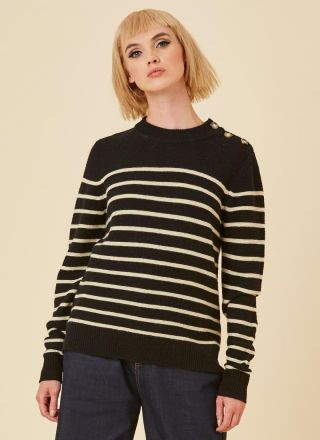 Brittany Breton Stripe Jumper Black Model Close-Up