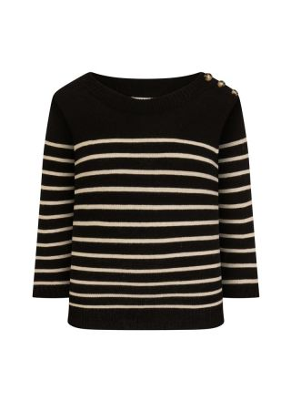 Brittany Breton Stripe Jumper Black Product Front