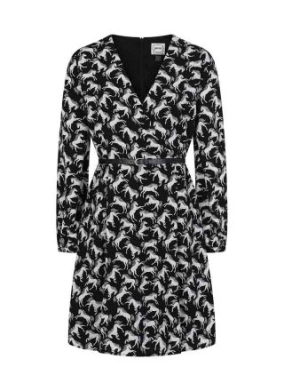 Canter Horse Print Wrap-Style Dress