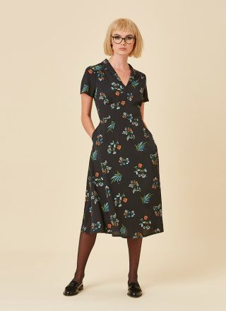 Cassidy Midi Tea Dress Blue Floral Full Front View