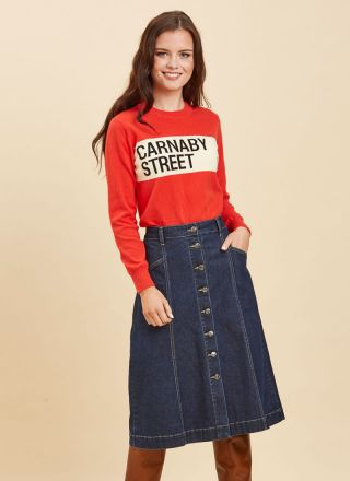 Charlie A-Line Denim Midi Skirt Red Carnaby Street Jumper Close-Up