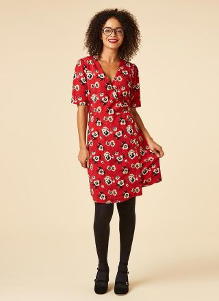 Cleo Red Pansy Floral Print Wrap Dress Model Tights