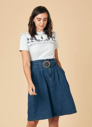 Carole Belted Denim Midi Skirt Model Close-Up