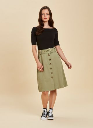 Gladys Belted Button Skirt Green Model Close-Up