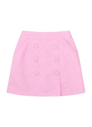 Colbert Jacquard Button A-Line Skirt Pink Product Front