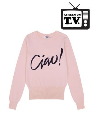 Concetta Ciao Slogan Pink Knit Jumper Product Front
