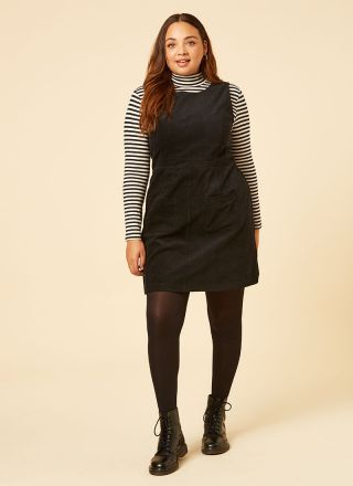 Daphne Patch Pocket Pinafore Dress Model Front