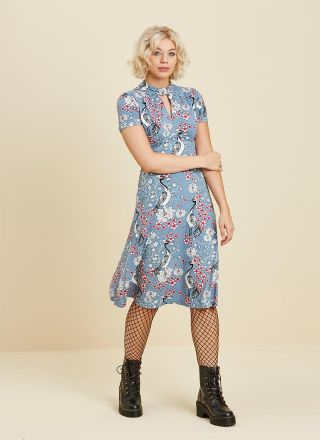 Eugenie High Neck Floral Jersey Dress Blue Full Front View