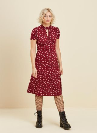 Eugenie High Neck Floral Jersey Dress Red Full Front View