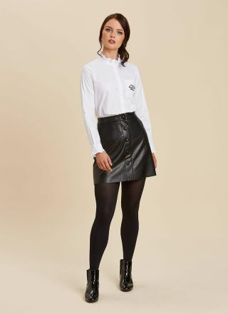 Dorcas Mixing Business With Pleasure Embroidered Slogan Pocket Frill Neck White Shirt Blouse Model Front Black A-Line Faux Leather Skirt