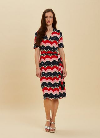 Dent Star & Scallop Stripe Print Wrap Dress Full Front View