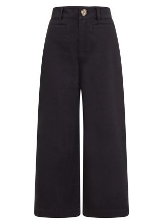 Dietrich Wide-Leg Crop Navy Trousers Product Front