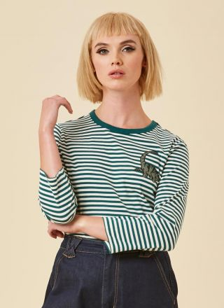 Dippy Dinosaur Breton Stripe Top