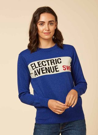 Edison Electric Avenue Intarsia Jumper Model Front