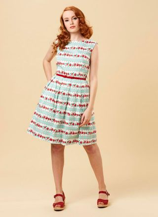 Betty Floral Stripe Print Dress Model Front