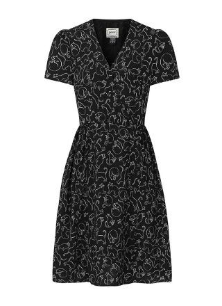 Elspeth Cat Print Tea Dress Product Front