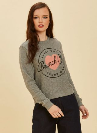 Etheline Grey Brunch Club Sweatshirt Product Front