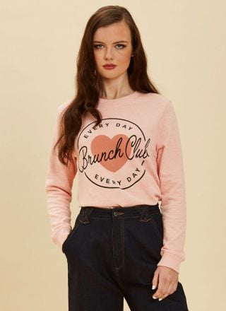 Etheline Brunch Club Pink Sweatshirt Product Front