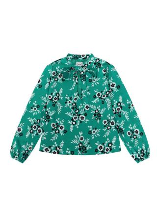 Etoile Green Floral Print Tie Neck Blouse Product Front