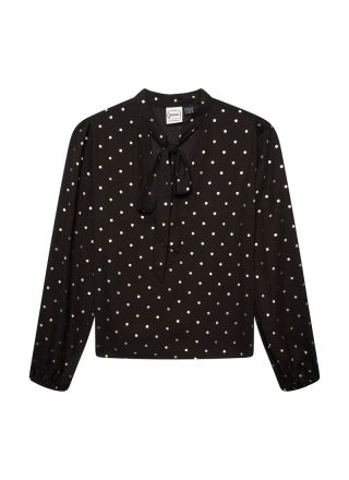 Etoile Gold Polka Dot Pussy Bow Blouse Product Front