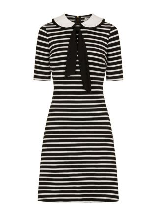 Fritha Black Stripe Collar Dress Full product View