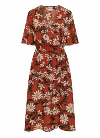 Katrine Brown Floral Midi Wrap Dress Product Front