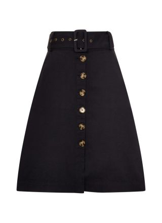 Gladys Belted Button Skirt Navy Product Front