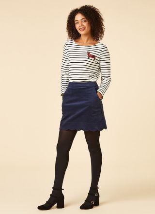 Villanelle Navy Velveteen Scallop Mini Skirt Model Front