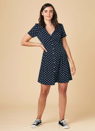 Gwen Polka Dot Mini Tea Dress Model Front