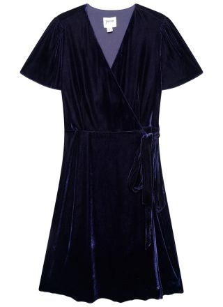 Harley Velvet Wrap Midi Dress Blue Product Front