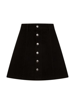 Janet Black A-Line Cord Button-Through Skirt Product