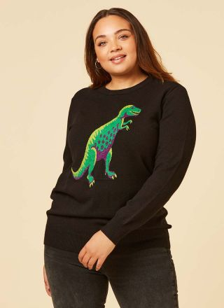 Jeff T-Rex Intarsia Jumper Model Front