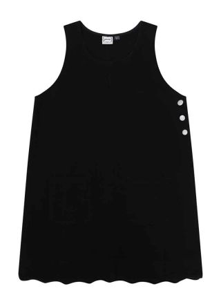 Jennifer Scallop Edge Pinafore Dress Black Product Front