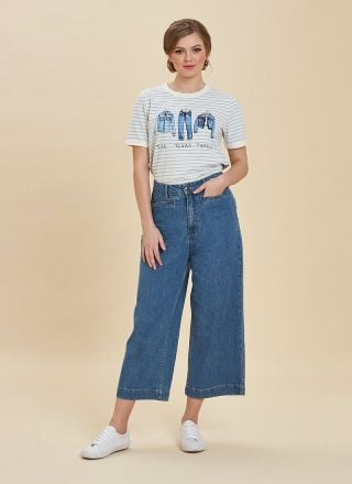 Lena Wide-Leg Crop Jeans Full Front View