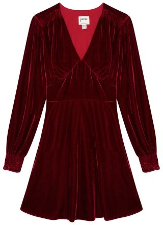 Jupiter Long Sleeve Velvet Mini Dress Burgundy Product Front