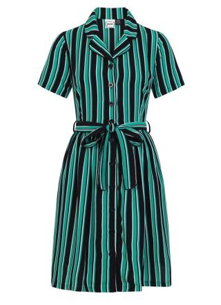 Karlie Stripe Shirt Dress Green Product Front