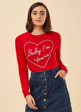 Katie Baby I'm Yours Slogan Jumper Red Model Close-Up