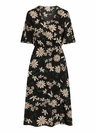 Katrine Black Floral Midi Wrap Dress Product Front
