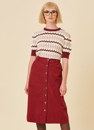 Keaton A-Line Cord Midi Skirt Cabernet Model Close-Up