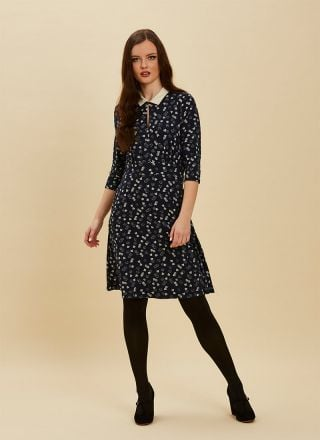 Kelly Dice Print Collar Dress Full Front View