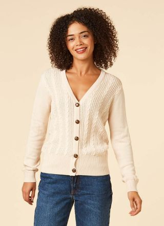 Linda Cable Knit Cream Cardigan Model Close-Up