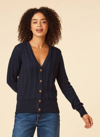 Linda Navy Cable Knit Cardigan Model Close-Up Jeans