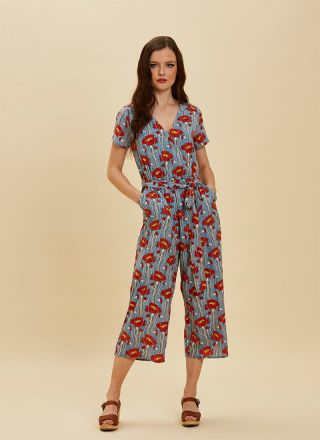 Lisa Poppy Print Wrap Front Jumpsuit Blue full front view