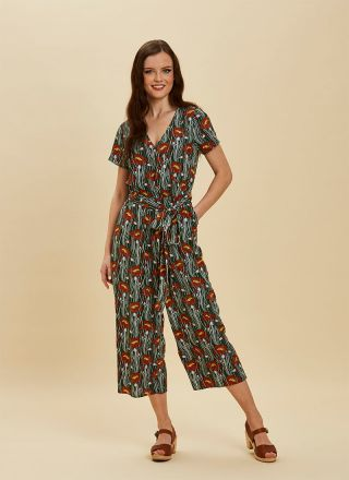 Lisa Poppy Print Wrap Front Jumpsuit green full front view