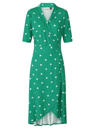 Lotta Green Polka Dot Jersey Wrap Dress Product Front