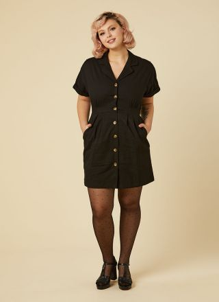 McAdams Button-Through Mini Shirt Dress Model Front