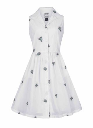 Meredith Cactus Embroidered Shirt Dress Product Front