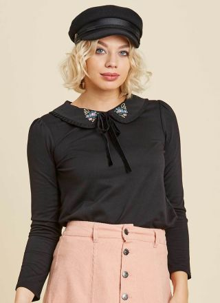 Miko Black Embroidered Floral Collar Top Model Close-Up
