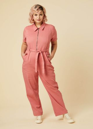 Mork Denim Short Sleeve Pink Boilersuit Model Front