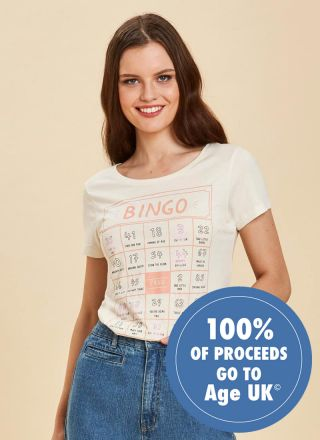 Nanette Bingo Slogan Tee Close Up
